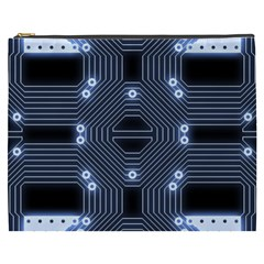 A Completely Seamless Tile Able Techy Circuit Background Cosmetic Bag (XXXL)