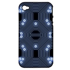 A Completely Seamless Tile Able Techy Circuit Background Apple iPhone 4/4S Hardshell Case (PC+Silicone)