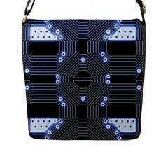 A Completely Seamless Tile Able Techy Circuit Background Flap Messenger Bag (L)
