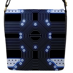 A Completely Seamless Tile Able Techy Circuit Background Flap Messenger Bag (S)