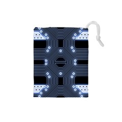 A Completely Seamless Tile Able Techy Circuit Background Drawstring Pouches (Small)