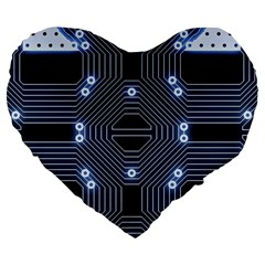 A Completely Seamless Tile Able Techy Circuit Background Large 19  Premium Flano Heart Shape Cushions