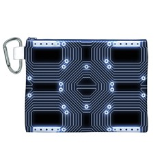 A Completely Seamless Tile Able Techy Circuit Background Canvas Cosmetic Bag (XL)