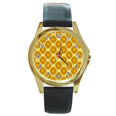 Snake Abstract Background Pattern Round Gold Metal Watch