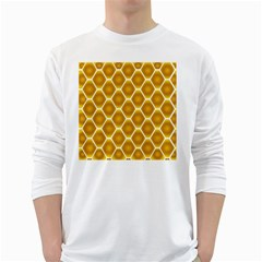 Snake Abstract Background Pattern White Long Sleeve T Shirts