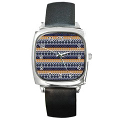Seamless Abstract Elegant Background Pattern Square Metal Watch