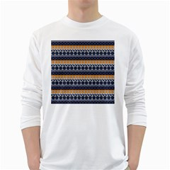Seamless Abstract Elegant Background Pattern White Long Sleeve T-Shirts