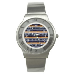 Seamless Abstract Elegant Background Pattern Stainless Steel Watch