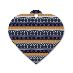 Seamless Abstract Elegant Background Pattern Dog Tag Heart (one Side)