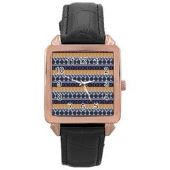Seamless Abstract Elegant Background Pattern Rose Gold Leather Watch