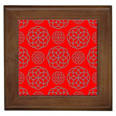 Geometric Circles Seamless Pattern On Red Background Framed Tiles