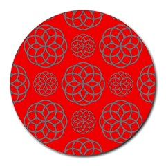 Geometric Circles Seamless Pattern On Red Background Round Mousepads