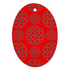 Geometric Circles Seamless Pattern On Red Background Ornament (oval)