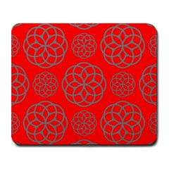 Geometric Circles Seamless Pattern On Red Background Large Mousepads