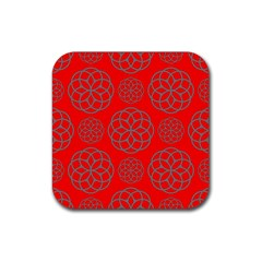 Geometric Circles Seamless Pattern On Red Background Rubber Square Coaster (4 pack)