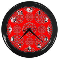 Geometric Circles Seamless Pattern On Red Background Wall Clocks (Black)