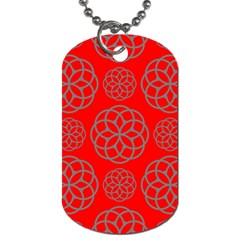 Geometric Circles Seamless Pattern On Red Background Dog Tag (one Side)