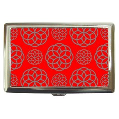 Geometric Circles Seamless Pattern On Red Background Cigarette Money Cases