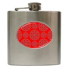 Geometric Circles Seamless Pattern On Red Background Hip Flask (6 Oz)