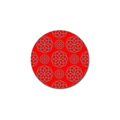 Geometric Circles Seamless Pattern On Red Background Golf Ball Marker (4 pack)