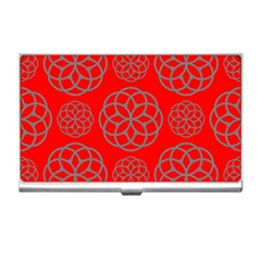 Geometric Circles Seamless Pattern On Red Background Business Card Holders