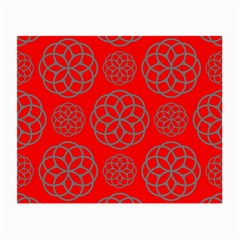 Geometric Circles Seamless Pattern On Red Background Small Glasses Cloth