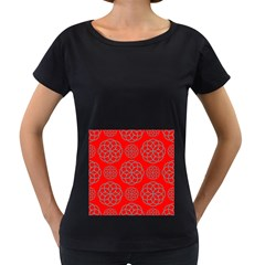 Geometric Circles Seamless Pattern On Red Background Women s Loose Fit T Shirt (black)