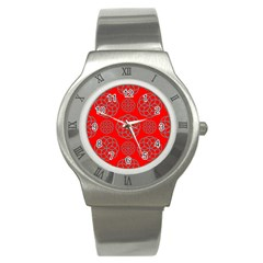 Geometric Circles Seamless Pattern On Red Background Stainless Steel Watch
