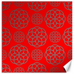 Geometric Circles Seamless Pattern On Red Background Canvas 20  x 20