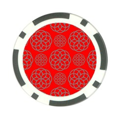 Geometric Circles Seamless Pattern On Red Background Poker Chip Card Guard