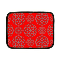 Geometric Circles Seamless Pattern On Red Background Netbook Case (small)