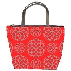 Geometric Circles Seamless Pattern On Red Background Bucket Bags