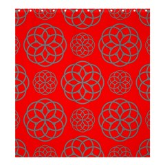 Geometric Circles Seamless Pattern On Red Background Shower Curtain 66  X 72  (large)