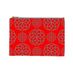 Geometric Circles Seamless Pattern On Red Background Cosmetic Bag (Large)