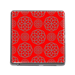 Geometric Circles Seamless Pattern On Red Background Memory Card Reader (square)