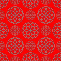 Geometric Circles Seamless Pattern On Red Background Magic Photo Cubes