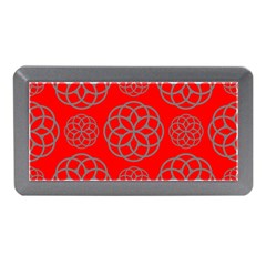 Geometric Circles Seamless Pattern On Red Background Memory Card Reader (Mini)
