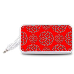 Geometric Circles Seamless Pattern On Red Background Portable Speaker (white)