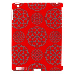 Geometric Circles Seamless Pattern On Red Background Apple iPad 3/4 Hardshell Case (Compatible with Smart Cover)
