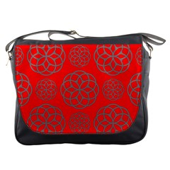 Geometric Circles Seamless Pattern On Red Background Messenger Bags