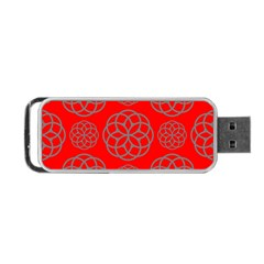 Geometric Circles Seamless Pattern On Red Background Portable USB Flash (Two Sides)