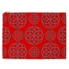 Geometric Circles Seamless Pattern On Red Background Cosmetic Bag (XXL)
