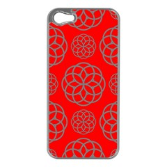 Geometric Circles Seamless Pattern On Red Background Apple iPhone 5 Case (Silver)