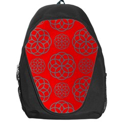 Geometric Circles Seamless Pattern On Red Background Backpack Bag