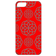 Geometric Circles Seamless Pattern On Red Background Apple Iphone 5 Classic Hardshell Case