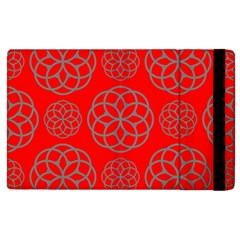 Geometric Circles Seamless Pattern On Red Background Apple iPad 2 Flip Case