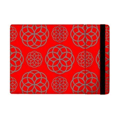 Geometric Circles Seamless Pattern On Red Background Apple iPad Mini Flip Case