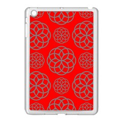 Geometric Circles Seamless Pattern On Red Background Apple iPad Mini Case (White)