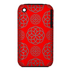 Geometric Circles Seamless Pattern On Red Background iPhone 3S/3GS