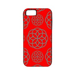 Geometric Circles Seamless Pattern On Red Background Apple iPhone 5 Classic Hardshell Case (PC+Silicone)